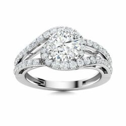 1.25 Carat Natural Certified White Topaz And Si Diamond Ring In 14k White Gold