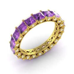 Certified 3.49 Ct Princess Amethyst And Diamond Eternity Band Ring 18k Yellow Gold