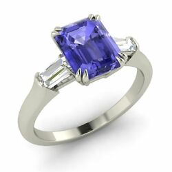 Certified Natural Tanzanite And Vs Diamond Engagement Ring Sterling Silver-1.63 Ct