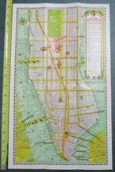 1930s Hotel Bristol New York City Nyc Subway Ferry Irt Ind Bmt Bus Map Brochure