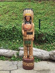 John Gallagher Carved Wooden Cigar Store Indian 4 Ft. Statue White Buffalo