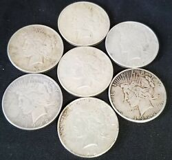 Silver 90 Peace Dollars 1922, 7 Coins, 5 Troy Oz Hyperinflation Collectible