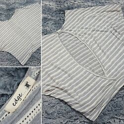 EDGE Popover Blouse Womens Size Large Striped Dolman Style Open Back Gray White
