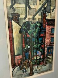 N Y Cityscape Gouache Painting 1940 Row House With Air Warden, American Flag