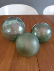 3 Vintage Antique Glass Ball Fishing Float Handblown Lot Of 3 Different Sizes