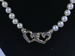 Ladyand039s Double 14ky Heart / Diamonds On Freshwater Cultured Pearl Necklace15099
