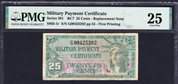 Series 591 Mpc 25¢ Replacement Pmg 25 Military Payment Certificate Rc7 S863-1r
