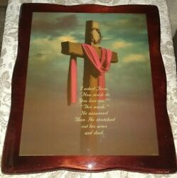 Large Vintage 1987 Jesus Religious Cross Decoupage Lacquered Wood Picture Print