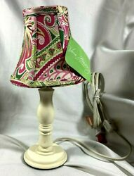 VERA BRADLEY CANDLESTICK LAMP WITH PETAL PINK CHANDELIER LAMP SHADE NEW