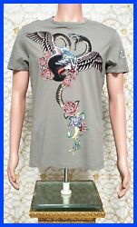 New Versace Jeans Gray Beaded T-shirt With Snake And Flowers Print Size 48 - M