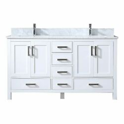 Jacques 60 Vanity White Carrara Marble Top White Square Sinks And No Mirror