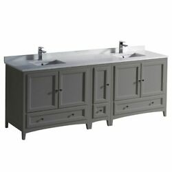 Oxford 84 Traditional Double Bathrm Cabinets W/ Top And Sinks Fcb20-361236-cwh-u