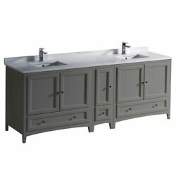 Oxford 84 Traditional Double Bathrm Cabinets W/ Top And Sinks, Fcb20-361236-cwh-u