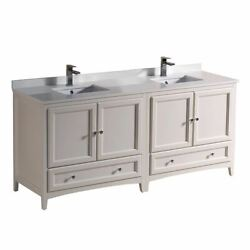 Oxford 72 Traditional Double Bathroom Cabinets W/ Top And Sinks, Fcb20-3636-cwh-u