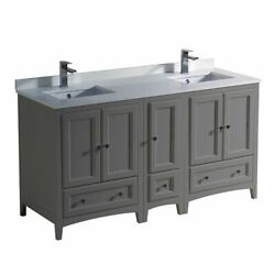 Oxford 60 Traditional Double Bathrm Cabinets W/ Top And Sink Fcb20-241224-cwh-u