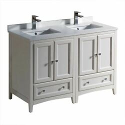 Oxford 48 Traditional Double Bathroom Cabinets W/ Top And Sink, Fcb20-2424-cwh-u