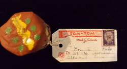 Vintage Souvenir Toy Drum Lucky Indian Tom Tom Mailing Card With 3 Cent Stamp