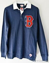 Mens Lev's+mlb Red Sox Or Cubs Baseball Rugby Polo Long Sleeve Shirt [limited]