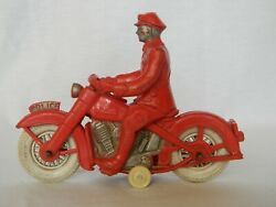 Rare Antique Reliable Harley Davidson Rubber Toy Motorcycle Policeman 258