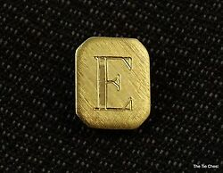 Tie Tack Pin Letter E Initial Personalized Jewelry Gold Tone