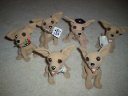Rare Complete Set 6 Vintage Taco Bell Chihuahua Talking Dogs 6 Plush Toy Animal