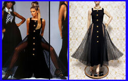 ICONIC MUSEUM-WORTHY GIANNI VERSACE ATELIER LONG BLACK DRESS size 4