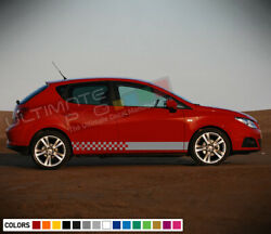 2xdecal Sticker Stripe Kit For Seat Ibiza Wing Panel Light Chrome Front Fender