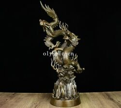 23'' Pure Red Copper Carvings Folk Home Fengshui Chinese Beast Dragon Statue