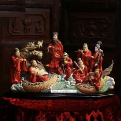 23'' China Porcelain Ceramic Art Pottery The Eight Immortals On Dragon Statue