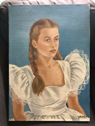 Oil Canvas Painting Portrait Lady Girl Fancy White Dress Lace Braided Hair Yahdi