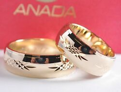 1 Pair Gold 585 Wedding Rings Bands With Striking Pattern - B 8mm