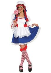 Women's Raggedy Anne Cheerful Rag Doll Dress Costume Size S L Used