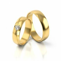 1 Pair Wedding Rings Gold 333 585 Or 750 With Diamond Heart - 009ct