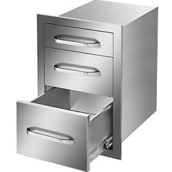 15wx21h Outdoor Kitchen Drawers Stainless Steel Triple Bbq Drawers Flush Mount