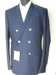 New 3480,00 Dior Jacket Double Breasted Blue 100 Wool Size 38 Us 48 Eu 2 Btn