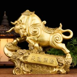 14and039and039 Brass Carved Office Home Fengshui Rewards Treasure Laborious Bull Ox Statue