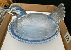 Vintage Indiana Glass Blue Hen Rooster On Nest Covered Candy Nut Dish