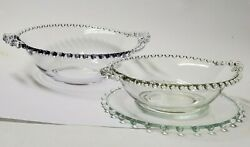 Vintage Imperial Candelwick Serving Bowls With Handles And Plate Collectible Glass