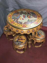 33'' A set of Bronze cloisonne Gold enamel home Decorate furniture table chair