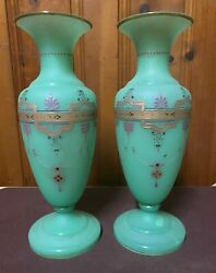 Paired, Opaque, Trumpet Shaped, Gilded Green Opaline Glass Vases