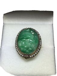 Art Nouveau Ca. 1920 14k Yellow Gold Jadeite Jade Ring W/ Seed Pearl Halo 5