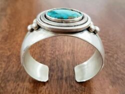 Native American Rare Wcv Sterling Silver Bracelet With Turquoise Stone