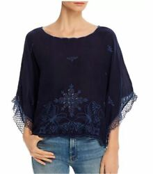 Johnny Was Brando Embroidered Boat-neck Top Blouse Blue Night Size M Nwt