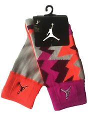2 Pair Nike Air Jordan Girls Crew Socks Shoe Size 5Y-7Y Purple Orange Gift L2 MP $9.97