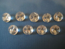 Button Lot B21 Vintage Glass 9 Small Clear Faceted Domes Self Shank 3/8 Sparkle