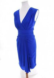 Badgley Mischka Collection Silk Chiffon Ruched Sheath Faux Wrap Dress Blue Sz 10