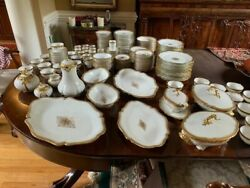 Antique William Guerin Limoges Gold Encrusted Snowflake France China 211 Pieces