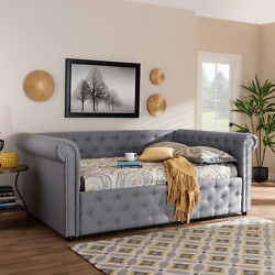 Mabelle Modern Button-tufted Gray Fabric Rolled Arms Sofa Daybed Bed Frame