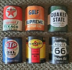 One Set Of Half Oil Cans Metal Wall Decor New Gas And Vintage Oil