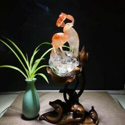 11and039and039 Natural 100 Rock Crystal Quartz Home Feng Shui Pair Birds Crane Statue